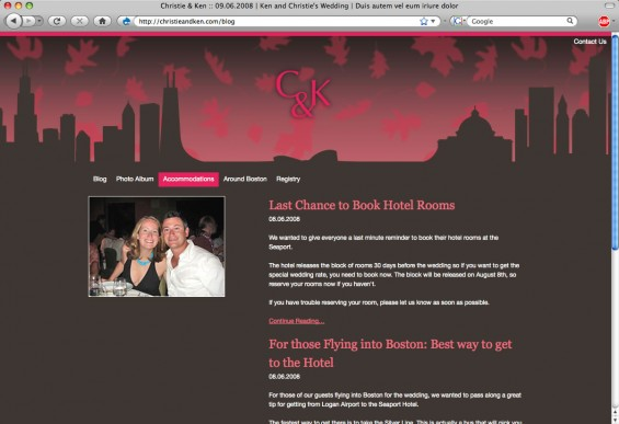 Screen shot of the blog for Christie and Ken dot com