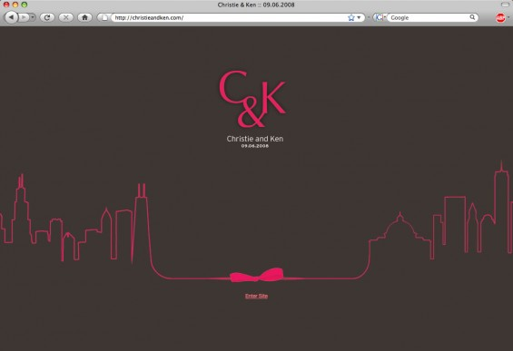Simple elegant home page announcing Christie and Ken's nuptials